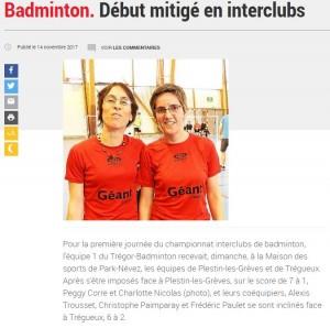 2017-11-14 Badminton. Début mitigé en interclubs - Lannion - LeTelegramme.fr