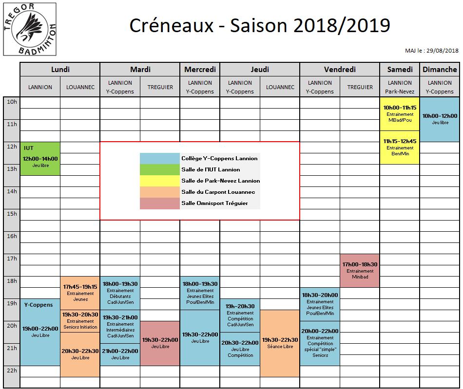 Créneaux 2018/2019